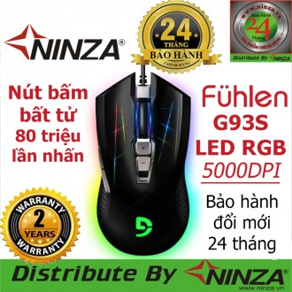 Chuột chuyên game Fuhlen G93S, Led RGB, Lò xo Bất Tử 80 triệu lần nhấn