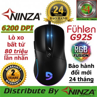 Chuột chơi game Fuhlen G92s RGB, 6200DPI, Nút bâm bất tử 80 triệu click
