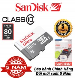 Thẻ nhớ MicroSD Sandisk 16gb Class 10 - Bảo hành 5 năm