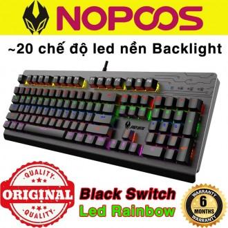 Bàn phím cơ Nopoos KB869 nội địa - Phím cơ Nopoos KB869 Black Switch Led Rainbow