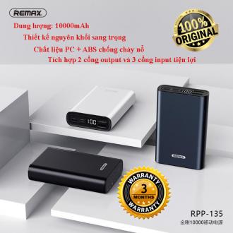 Pin sạc dự phòng Remax RPP-135 dung lượng cao 10.000mAh - Siêu nhỏ gọn - Sạc nhanh - 3 cổng Input & 2 cổng ra USB