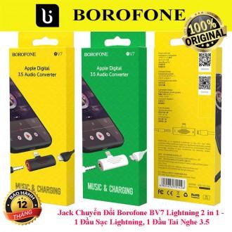 Jack Chuyển Đổi Borofone BV7 Lightning 2 in 1 - 1 Đầu Sạc Lightning, 1 Đầu Tai Nghe 3.5