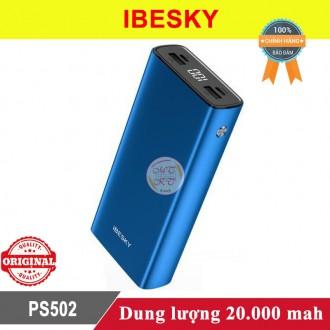 Sạc dự phòng Ibesky PS502 20.000mah vỏ nhôm có màn hình led